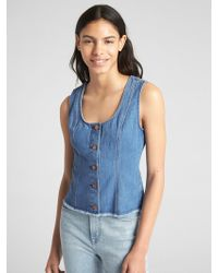 16ea56398c Gap Sleeveless Denim Top With Frayed Detail in Blue - Lyst