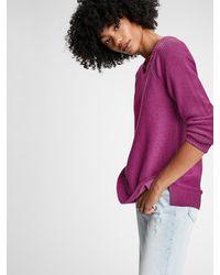 Gap True Soft Textured Crewneck Sweater - Purple