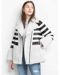 Gap - Limited Edition Leather Stripe Shearling Coat - Lyst
