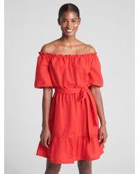 Gap - Off-shoulder Tiered Ruffle Dress In Linen-cotton - Lyst