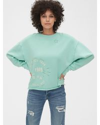 Gap 50th Anniversary Embroidered Crop Crewneck Sweatshirt - Blue