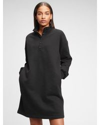 Gap Henley Sweatshirt Dress - Black