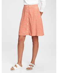 Gap Button-front Mini Skirt - Orange