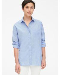 Gap Boyfriend Popover Shirt In Poplin - Blue
