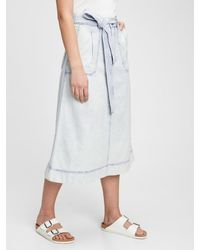Gap A-line Tie-belt Midi Skirt With Washwelltm - Multicolour