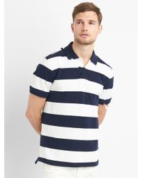 Gap - Rugby Stripe Pique Polo Shirt In Stretch - Lyst