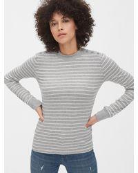 Gap Stripe Cozy Ribbed Button-shoulder T-shirt - Gray