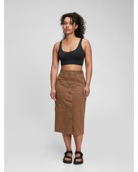 Gap Button-front Pencil Skirt - Brown