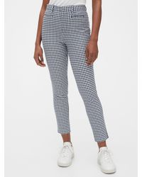Gap High Rise Gingham Signature Skinny Ankle Pants - Blue