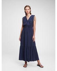 Gap Ruched Shoulder Maxi Dress - Blue