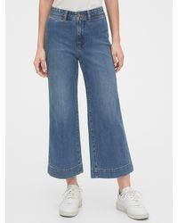 Gap High Rise Wide-leg Crop Pants - Blue