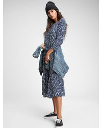 Gap Three-quarter Sleeve Flounce Midi Dress - Blue