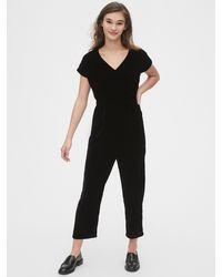 Gap Velvet V-neck Jumpsuit - Black