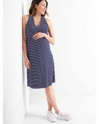 7e080a43cad87 Lyst - Gap Maternity Velvet Tie-waist Crossover Dress in Black