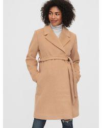 Gap Maternity Wool Blend Wrap Coat - Natural