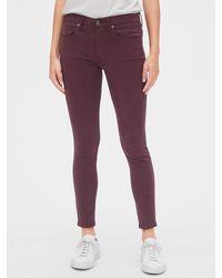 Gap Soft Wear Mid Rise True Skinny Ankle Jeans In Color - Purple