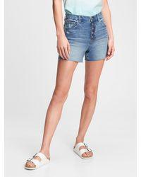 Gap 4'' High Rise Button-fly Denim Shorts With Washwelltm - Blue