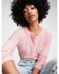 Gap Ribbed Henley T-shirt - Pink