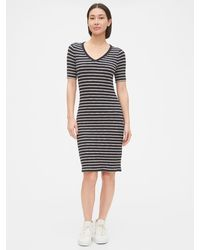 Gap Fitted Ribbed Dress - Blue