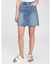Gap High Rise Distressed Denim Skirt - Blue