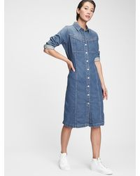 Gap Denim Western Dress - Blue