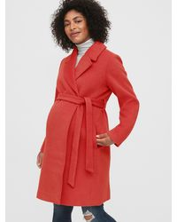 Gap Maternity Wool Blend Wrap Coat - Red
