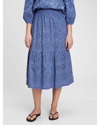 Gap Eyelet Midi Skirt - Blue