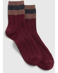 Gap Glitter Stripe Half-crew Socks - Red