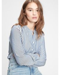 Gap Shirred Button-front Top - Blue