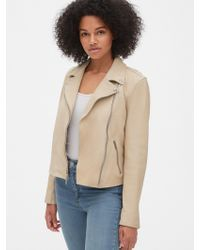 Gap Leather Moto Jacket - Natural