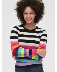 Gap Wool-blend Crazy Stripe Puff Sleeve Sweater - Multicolor