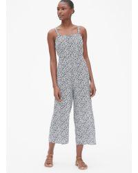 Gap Floral Square-neck Cami Wide-leg Jumpsuit - Blue