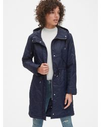 Gap Midweight Quilted Fishtail Parka - Blue