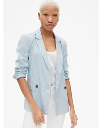 Gap Classic Girlfriend Blazer In Linen - Blue
