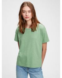 Gap Relaxed Striped Cropped Top - Green