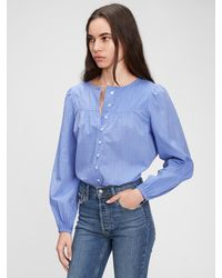Gap Stripe Button-front Blouse - Blue