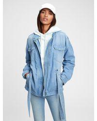 Gap Belted Denim Jacket With Washwelltm - Blue