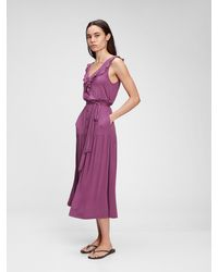 Gap Sleeveless Ruffle Maxi Dress - Purple