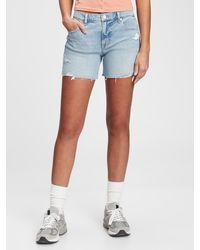Gap 5'' Mid Rise Destructed Denim Shorts With Washwelltm - Blue