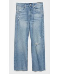 Gap High Rise Destructed Crop Ankle Flare Jeans - Blue