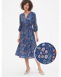 Gap Floral Print Three-quarter Sleeve Tiered Midi Dress - Blue
