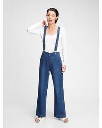 Gap Wide-leg Suspender Jeans With Washwelltm - Blue