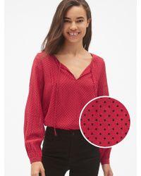 Gap Long Sleeve Print Split-neck Blouse - Red