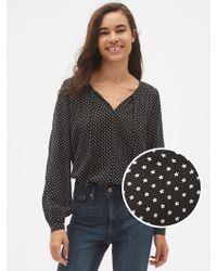 Gap Long Sleeve Print Split-neck Blouse - Black