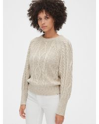 Gap Marled Cable-knit Crewneck Sweater - Natural