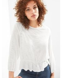 Gap - Long Sleeve Top With Smocking - Lyst