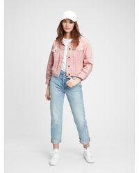 Gap Cropped Icon Denim Jacket With Washwelltm - Pink