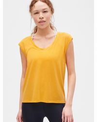 Gap Fit Breathe T-shirt With Twist Detail - Yellow