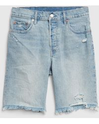 Gap High Rise Distressed Bermuda Shorts - Blue