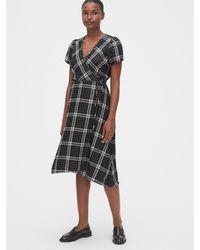 Gap Shimmer Plaid Midi Wrap Dress - Black